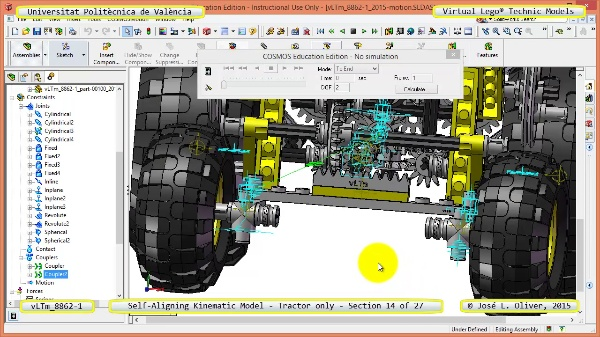 Simulación Dinámica Lego Technic 8862-1 - Tractor - sobre Base - 14 de 27
