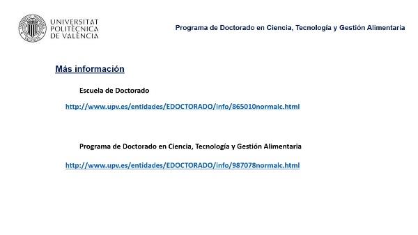 Introducción al desarrollo del doctorado - Programa en Ciencia, Tecnología y Gestión Alimentaria