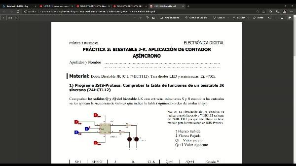 Electrónica Digital. Práctica 3. Biestable JK. Funcionamiento (datasheet) y simulación.