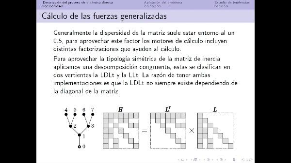 Estudio sobre las factorizaciones de la matriz de inercia aplicado a un problema de dinámica directa