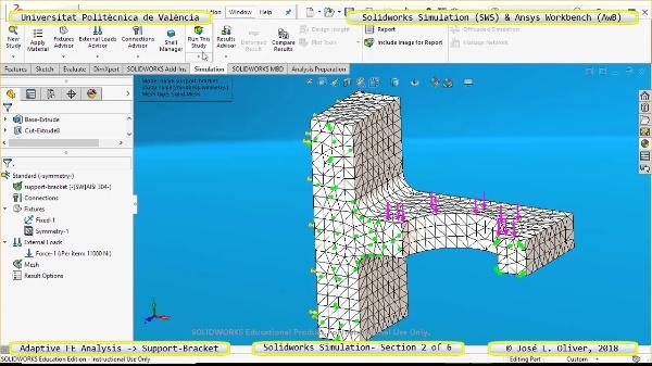 Mallado Adaptativo Pieza Mecánica con Solidworks Simulation v17 - 2 de 6