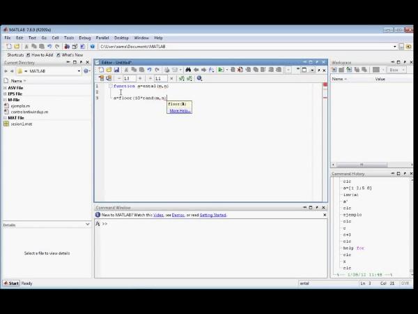 Tutorial Matlab 4. Funciones