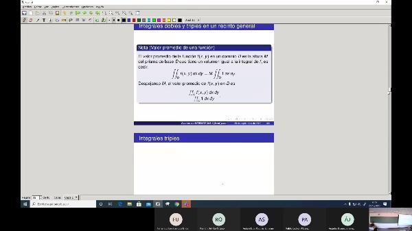 Matemáticas 1 GIOI grupo A  Clase 30 (Integrales dobles 2)