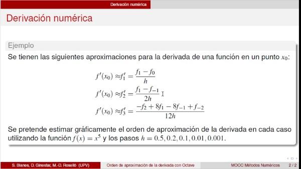 Orden de aproximación de la derivada con Octave