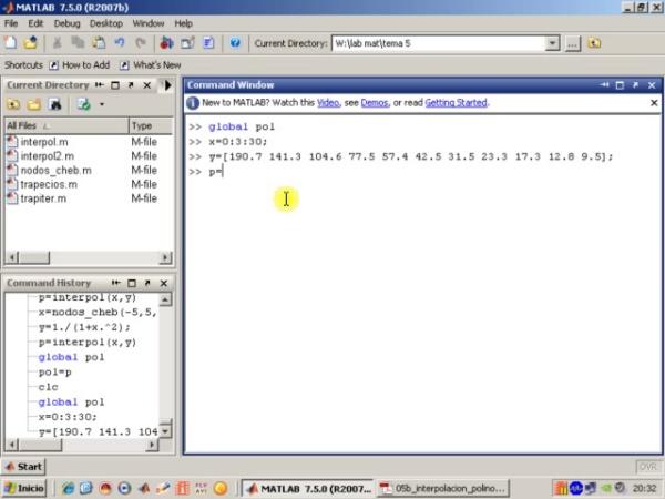 Tema 5. Interpolación polinómica. Uso de variables globales (1)
