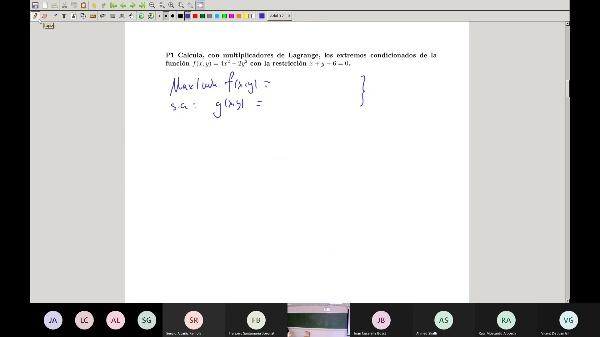 Matemáticas 1 GITI grupo A  Clase 35 (Problemas Extremos 1)