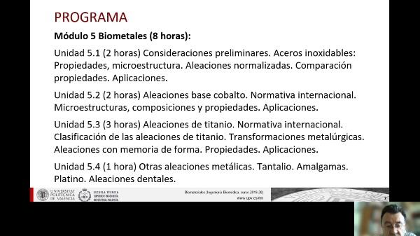 Presentación  de la segunda parte de la asignatura de Biomateriales