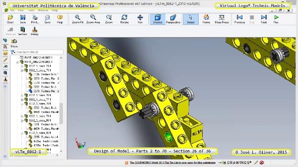 Creación Virtual Modelo Lego Technic 8862-1 ¿ Piezas 2 a 70 ¿ 26 de 36
