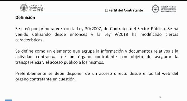 Ley de Contratos del Sector Público. El perfil del contratante