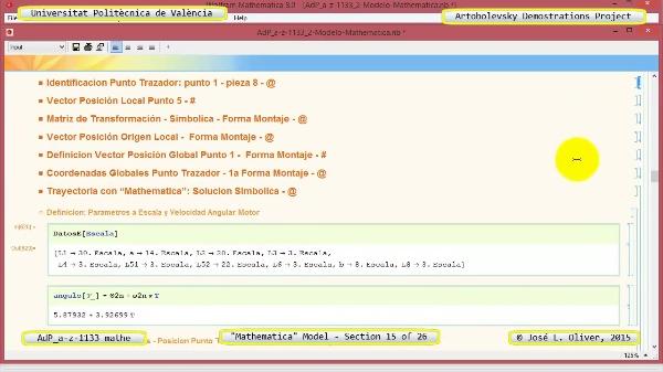Solución Cinemática Simbólica a-z-1133 con Mathematica - 15 de 26