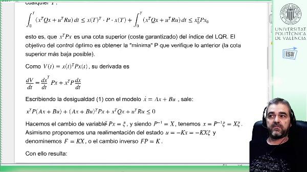 Control óptimo (LQR) de procesos lineales con desigualdades matriciales lineales (LMI): teoría y ejemplo Matlab
