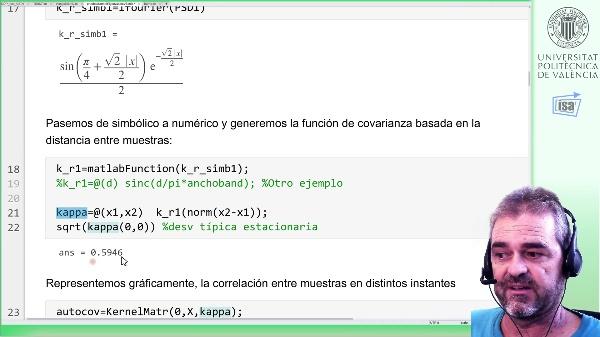 Intro. componentes principales de un proceso estocástico (Karhunen-Loève): ejemplo Matlab (muestreado)