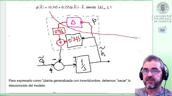 Prestaciones robustas ante no linealidad, depósito 1er orden (I): planta ponderada, cálculo controlador, simulación