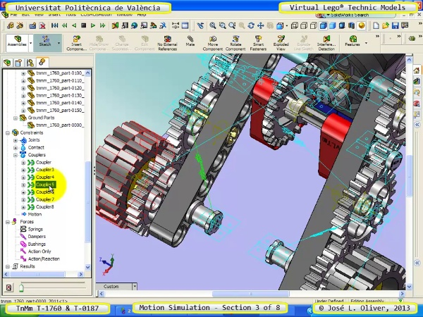 Simulación Dinámica Lego Technic T-0187 sobre Base -D- 3 de 8