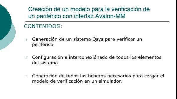Creación de un modelo para la verificación de un periférico con interfaz Avalon-MM