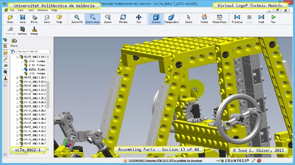 Creación Virtual Modelo Lego Technic 8862-1 ¿ Montaje Modelo ¿ 13 de 44