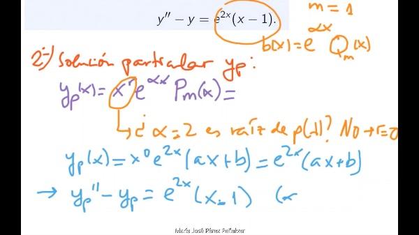 Ejercicio de resolución de ecuación diferencial lineal con coeficientes constantes de grado dos