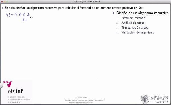 [PRG-OA] Diseño del Algoritmo Recursivo para el Cálculo del Factorial de un Número