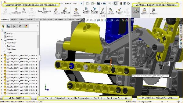 Simulación Cinemática Lego Technic 8047-1 con Recurdyn - Parte 1 ¿ 5 de 6