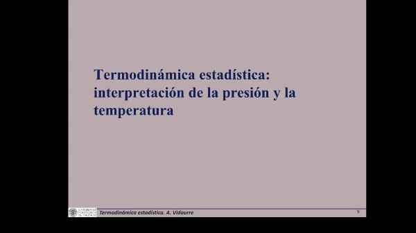 Termodinámica estadística. Introducción