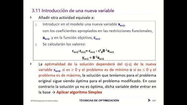 Reoptimizacion: Introducción de una nueva variable
