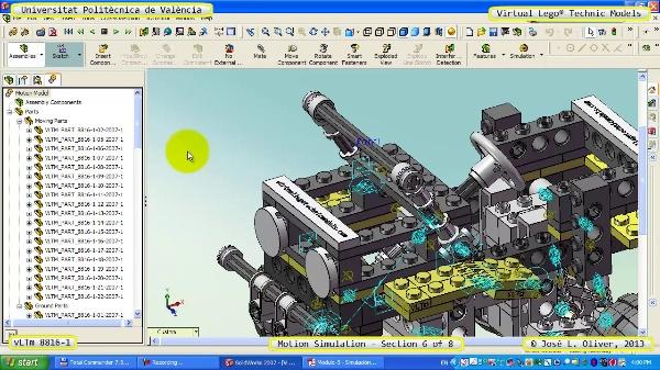 Simulación Cinemática Lego Technic 8816-1 con Cosmos Motion ¿ 6 de 8