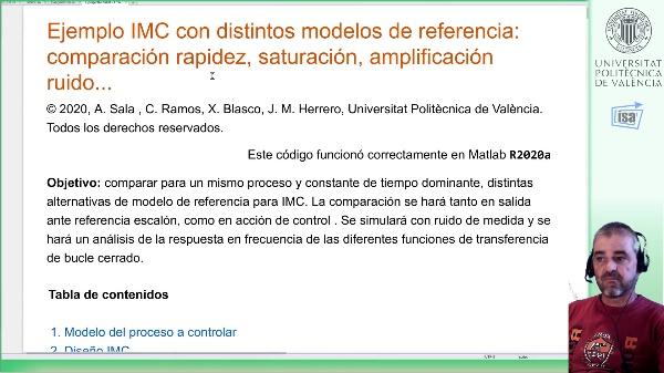 IMC de proceso de segundo orden: ejemplo Matlab alternativas diseño (I)