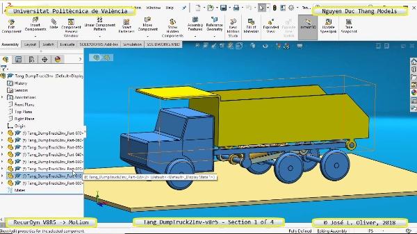 Simulación Cinemática Tang_DumpTruck2Inv-v8r5 con Recurdyn - MopTa - 1 de 4