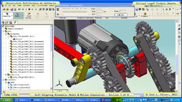 Simulación Dinámica Lego Technic T-1760 sobre Base ¿B- 3 de 8