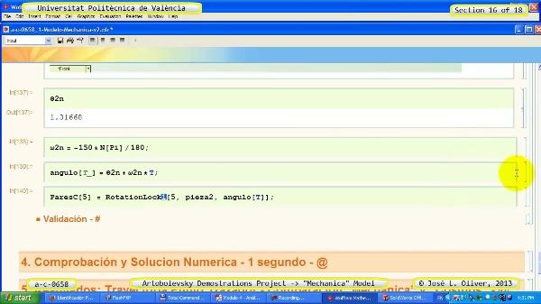 Simulación Mecanismo a_c_0658 con Mechanica - 16 de 18