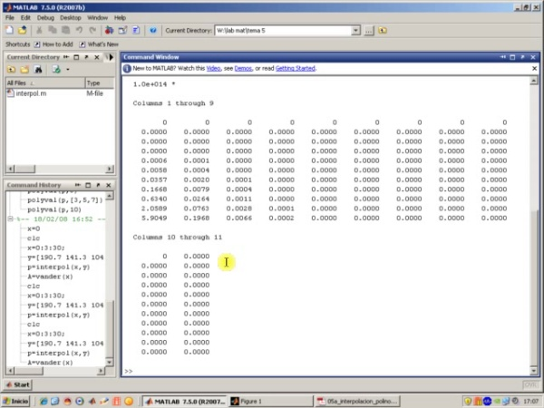 Tema 5. Interpolación polinómica. Ejemplo. Fuerza sobre el mástil. Sistemas mal condicionados (1)