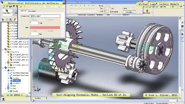 Simulación Cinemática Lego Technic 8064-2 con Cosmos Motion ¿ 02 de 11 - no audio