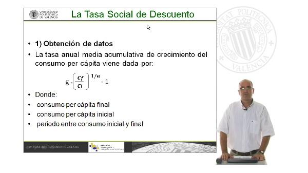 B09. Cálculo de la Tasa de descuento social. Tasa de crecimiento del consumo per cápita