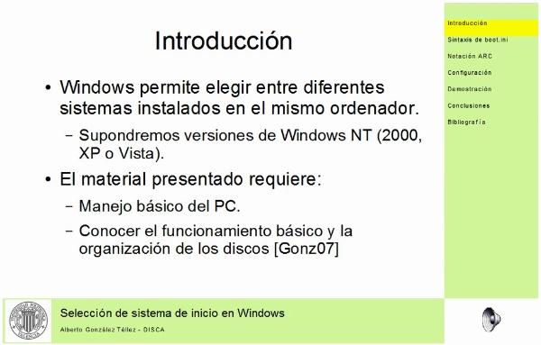 Selección de sistemas de inicio en Windows
