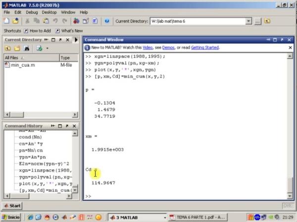 Tema 6. Aproximación mínimo-cuadrática. Algoritmo min_cua (y 2)