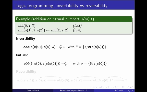Reversible Computations in Logic Programming