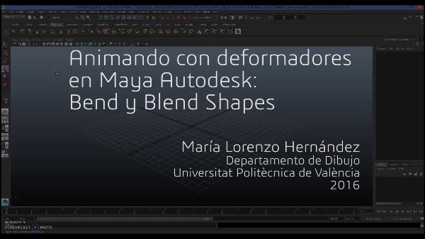 Animando con deformadores en Maya Autodesk: Bend y Blend Shapes