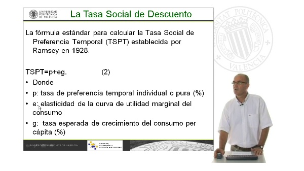 B08. Cálculo de la Tasa de descuento social. Fórmula de Ramsey