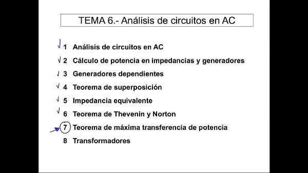 Teoría de Circuitos 1. Lección 6. 7-1 Máxima transferencia de potencia en alterna