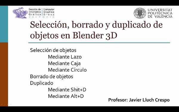 SELECCIÓN, BORRADO Y DUPLICADO EN BLENDER 3D