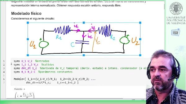 Modelado de un circuito R-C-R con dos fuentes de tensión: matriz de transferencia, término de condiciones iniciales, resp. escalón
