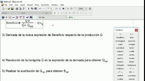 Manejo básico de los operadores simbólicos de Mathcad para optimizar el resultado de una expresión