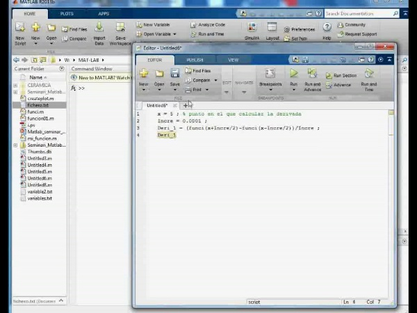 MN-DE-06 Cálculo Número de la Derivada en MatLab