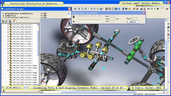 Simulación Cinemática Lego Technic 8432-1 con Cosmos Motion ¿ 24 de 24 - no audio