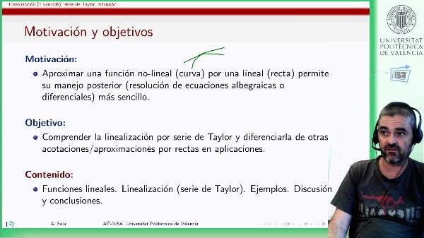 Linealización de funciones de 1 variable (II): serie de Taylor, discusión, aplicaciones