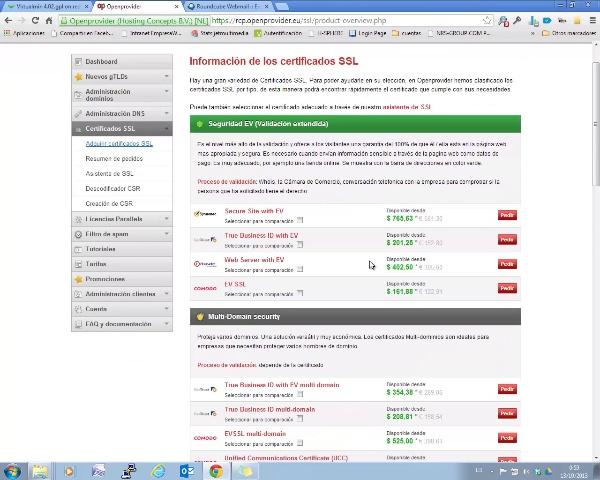 Compra e instalación de un certificado SSL