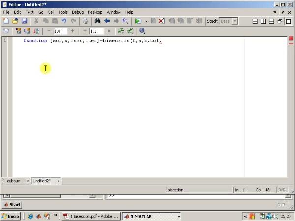 Tema 3. F(x)=0. Programa del método de bisección (2)