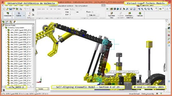 Simulación Cinemática Lego Technic 8459-2 con Cosmos Motion ¿ 04 de 29