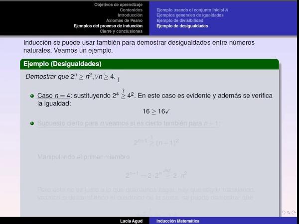 Método de inducción parte 4: ejemplo de desigualdades, primer elemento distinto y cierre