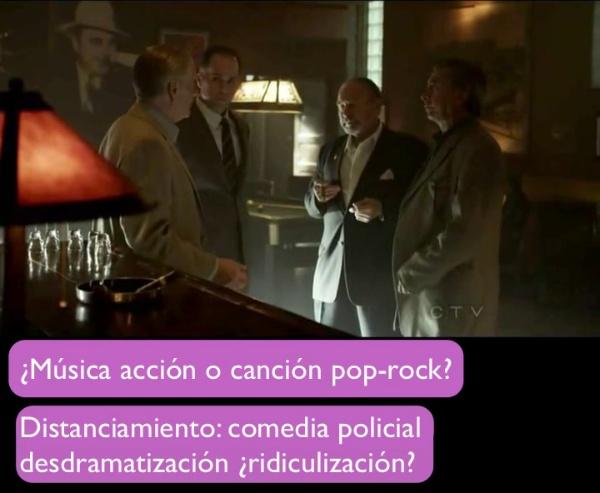 escena de acción con canción pop-rock
